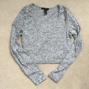 Forever 21 Large Heather Gray Long Sleeve Crop Top